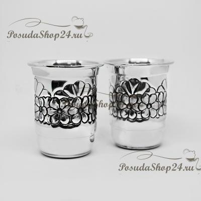Серебряная стопка «ЦВЕТЫ» на ножке. арт. 875-2-0143