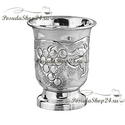 Серебряная стопка «ВИНОГРАД» на ножке. арт. 875-2-0148