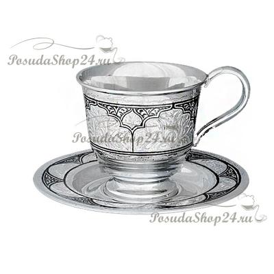 Серебряная чайная пара «Собор» (чашка + блюдце). арт. 875-2-0901