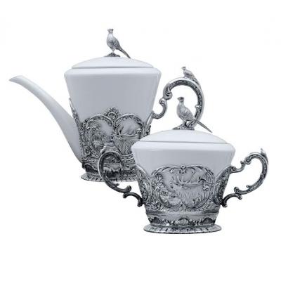 Серебряный чайник «КОРОЛЕВСКАЯ ОХОТА». арт. 925-5-878ЧН03006