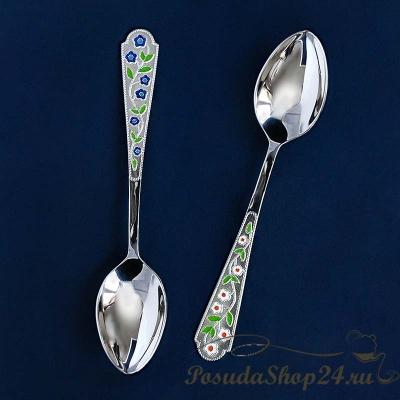 Серебряная чайная ложка «ЛЕТО РОМАШКА». арт. 925-5-486ЛЖ03007