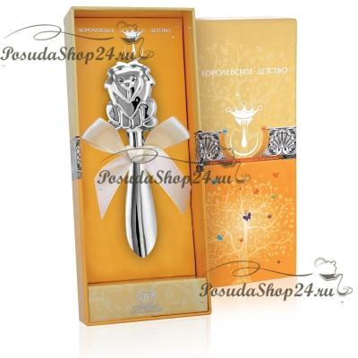 Серебряная погремушка «ЛЕВ» на ручке. арт. 925-5-1GI0422С