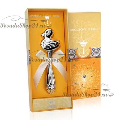Серебряная погремушка «УТКА». арт. 925-5-1GI0301B