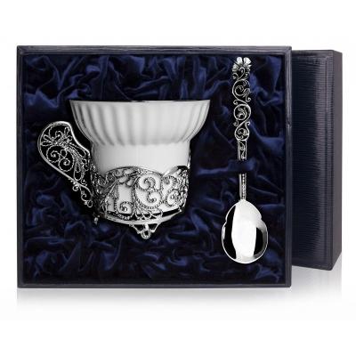 «ЗИМНИЕ УЗОРЫ» — серебряный набор для чая. арт. 925-5-684НБ03806