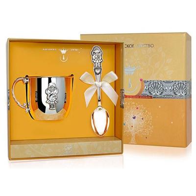Набор из серебра «ДЕВОЧКА»: кружкаиложка. арт. 925-5-388НБ05801