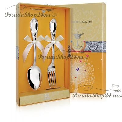 Десертный набор из двух серебряных приборов «ПРЕСТИЖ». арт.925-5-394НБ02801
