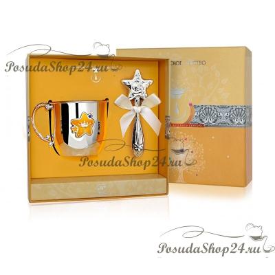 Набор из серебра «ЗВЕЗДА»: кружка и погремушка. арт. 925-5-РИ31НБ05001