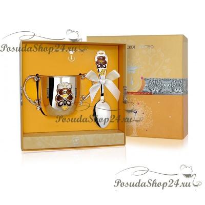 Набор из серебра «МИШКА»: поильник и ложка. арт. 925-5-615НБ05808