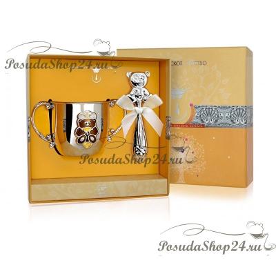 Набор из серебра «МЕДВЕДЬ»: поильник и погремушка. арт. 925-5-1GI441X-н4