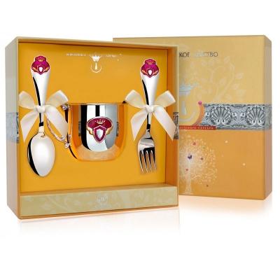 Серебряный набор«ПРИНЦЕССА»: поильник,ложка, вилка. арт. 925-5-519НБ05808