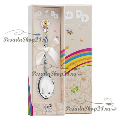 Серебряная детская ложка «АНГЕЛОЧЕК DO-DO» с розовой  эмалью. арт. 925-5-450ЛЖ05808_роз