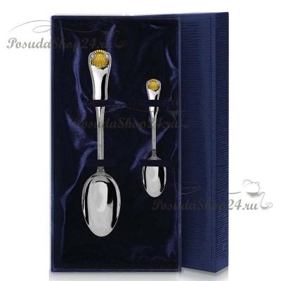 Столовый набор из серебра «ВИЗИТ» с позолотой.арт.925-5-454НБ01802