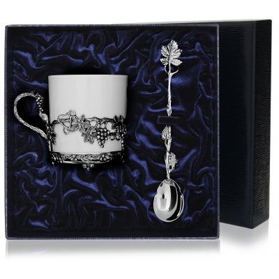 Серебряный чайный набор «Виноград». арт. 925-5-514ЧШ03801