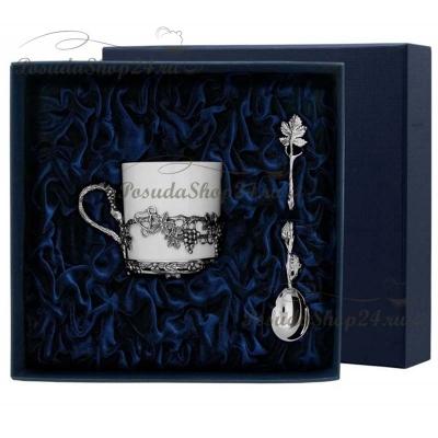 Серебряный кофейный набор«Виноград» на 1 персону. арт. 925-5-533ЧШ07006