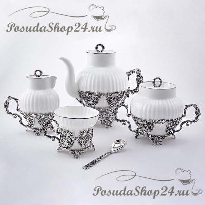 Серебряный чайный набор «Симфония». арт. 925-5-557НБ03806