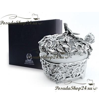 Серебряная солонка «ЛИСТЬЯ» с ложкой. арт. 925-5-598СЛ00006