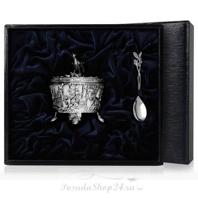 Серебряная солонка «ГЛУХАРЬ» с ложкой. арт. 925-5-599СЛ00006