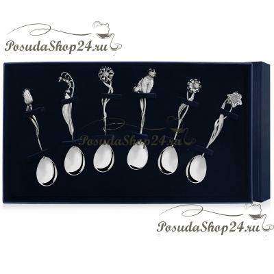Набор серебряных чайных ложек «ЦВЕТЫ РОССИИ» арт. 925-5-160НБ03801