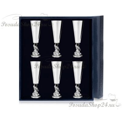 Набор из 6 серебряных рюмок «РЫБКА». арт. 925-5-577РМ00801