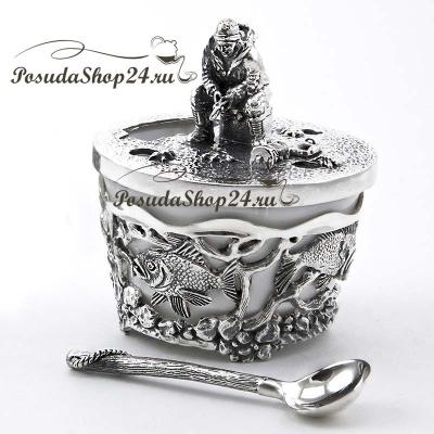 Серебряная солонка «РЫБАК». арт. 925-5-604СЛ00006