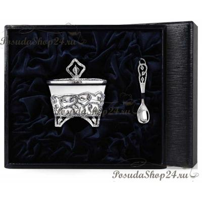 Серебряная солонка на ножках «Листопад». арт. 925-5-788СЛ00006