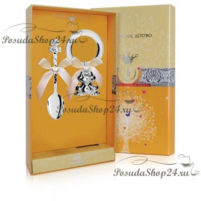 Набор серебра для младенца «Лягушка». арт. 925-5-РИ78НБ05802