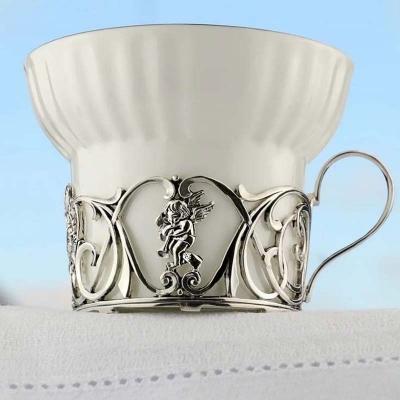Серебряная чайная пара «Ангел». арт. 925-5-672ЧШ03006(н2)