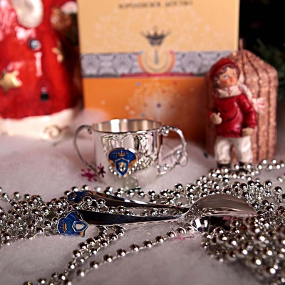 Набор из серебра «ПРИНЦ»: поильник и ложка. арт.925-5-518НБ05808