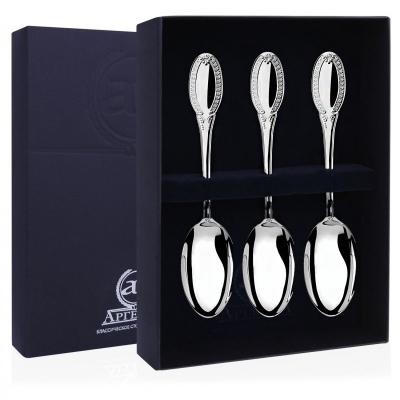 Набор из 3-х серебряных чайных ложек «ИМПЕРАТОР»арт.  925-5-844НБ03801
