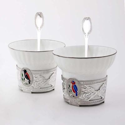 Чайный серебряный набор«ДЯТЕЛ». арт. 925-5-970ЧШ03007