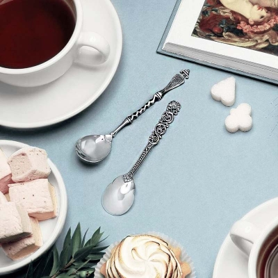 Серебряная чайная ложка «ВИТАЯ» с чернью.  арт. 925-5-124ЛЖ03006