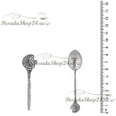 Серебряная кофейная ложка «ЕЖИК».арт. 925-2-9061(1)