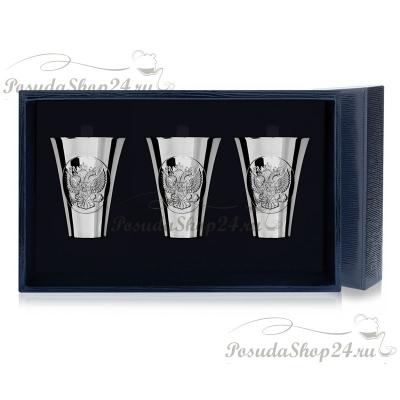Набор из 3 серебряных стопок «ГЕРБ» арт. 925-5-294НБ00801(3)