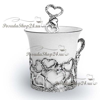 Серебряная кофейная пара«СЕРДЕЧКО». арт. 925-5-693НБ07806(2)