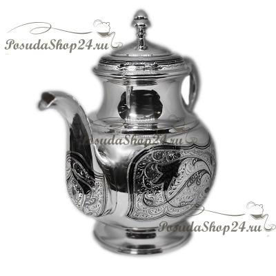 Серебряный чайник «ОЧАГ. арт. 875-6-0111