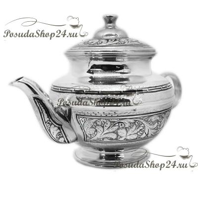 Серебряный заварочный чайник «ВОСТОК». арт. 875-2-1509