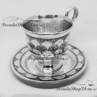 Серебряная кофейная пара  «КОЛОС» (чашка + блюдце).  арт. 875-2-0901