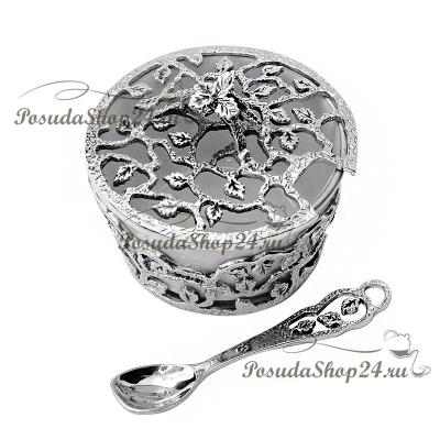 Серебряная солонка «Листопад» с ложкой. арт. 925-5-597СЛ00006