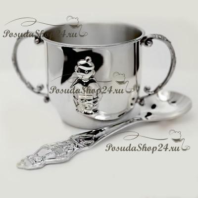 Набор из серебра «МАЛЬЧИК»: кружкаиложка. арт. 925-5-389НБ05801