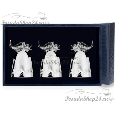 Набор из 3 серебряных стопок «ЦАРЬ-РЫБА». арт. 925-5-618СТ00006