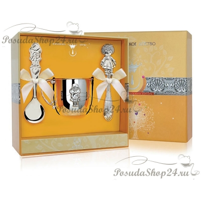 Набор из серебра с кружкой или поильником «ДЕВОЧКА». арт. 925-5-002ПЛ05001