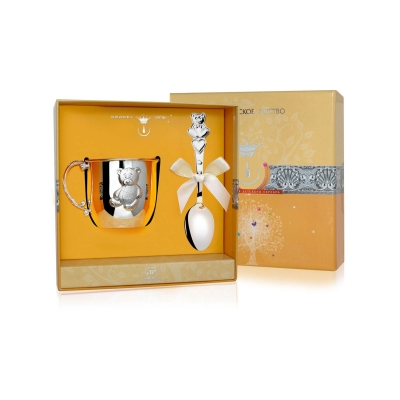 Набор из серебра «МИШКА»: кружка и ложка. арт. 925-5-066НБ05801