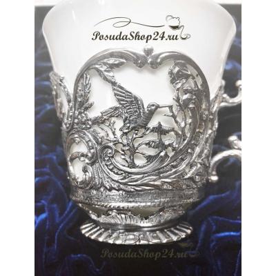 Серебряный чайный набор «КОРОЛЕВСКАЯ ОХОТА». арт. 925-5-866ЧШ03806(н)