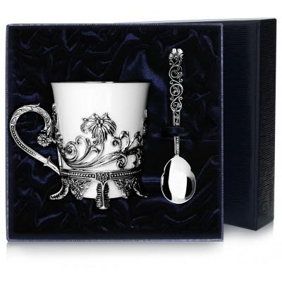 Серебряный чайный набор «ЦВЕТОЧНЫЙ». арт. 925-5-568НБ03806