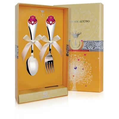 Детский набор из серебра «ПРИНЦЕССА» (ложка и вилка). арт.925-5-697НБ05808