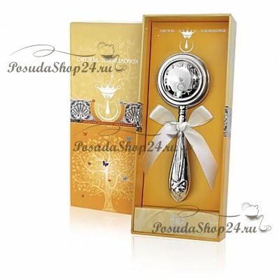 Серебряная погремушка «ЧАСЫ». арт. 925-5-1GI0401A