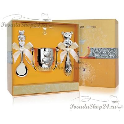 Набор из серебра с кружкой или поильником «МИШКА». арт. 925-5-065ПЛ05001