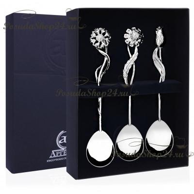 Набор из 3 серебряных чайных ложек «БУКЕТ» арт. 925-5-071ЛЖ03001