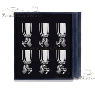 Набор из 6 серебряных рюмок «БЕЛКА». арт. 925-5-024РМ00801