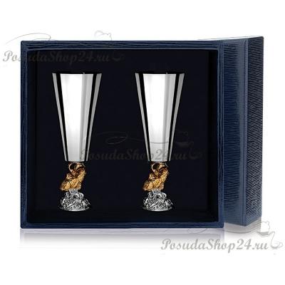Набор из 3 серебряных рюмок «ЗОЛОТАЯ РЫБКА». арт. 925-5-577РМ00002(3)